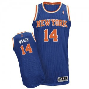 Maillot NBA New York Knicks #14 Anthony Mason Bleu royal Adidas Authentic Road - Homme