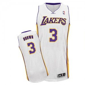 Maillot NBA Los Angeles Lakers #3 Anthony Brown Blanc Adidas Authentic Alternate - Homme