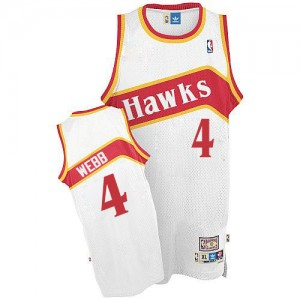 Maillot NBA Atlanta Hawks #4 Spud Webb Blanc Adidas Authentic Throwback - Homme