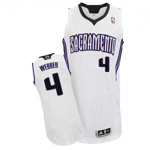Maillot NBA Blanc Chris Webber #4 Sacramento Kings Home Authentic Homme Adidas