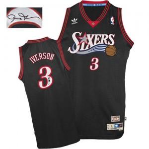 Maillot Authentic Philadelphia 76ers NBA 1997-2009 Throwback Autographed Noir - #3 Allen Iverson - Homme