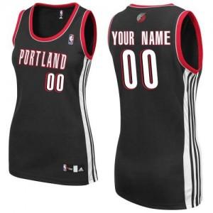Portland Trail Blazers Authentic Personnalisé Road Maillot d'équipe de NBA - Noir pour Femme