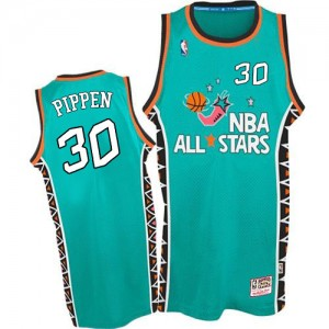 Maillot NBA Bleu clair Scottie Pippen #30 Chicago Bulls 1996 All Star Throwback Authentic Homme Mitchell and Ness