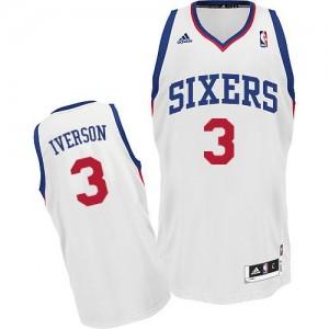 Philadelphia 76ers Allen Iverson #3 Home Swingman Maillot d'équipe de NBA - Blanc pour Homme