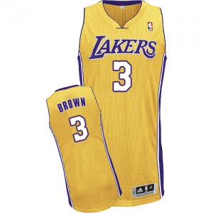 Maillot NBA Los Angeles Lakers #3 Anthony Brown Or Adidas Authentic Home - Homme