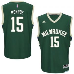 Maillot NBA Milwaukee Bucks #15 Greg Monroe Vert Adidas Swingman Road - Homme