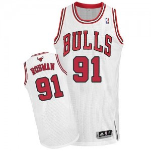 Maillot Adidas Blanc Home Authentic Chicago Bulls - Dennis Rodman #91 - Homme