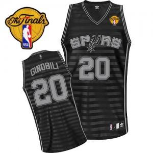 Maillot Adidas Gris noir Groove Finals Patch Authentic San Antonio Spurs - Manu Ginobili #20 - Homme