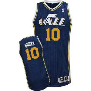 Maillot Adidas Bleu marin Road Authentic Utah Jazz - Alec Burks #10 - Homme
