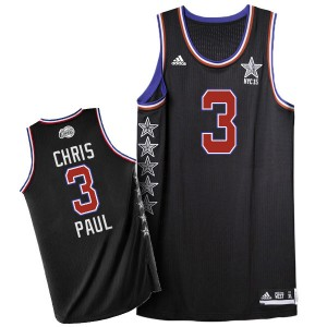 Maillot NBA Los Angeles Clippers #3 Chris Paul Noir Adidas Authentic 2015 All Star - Homme