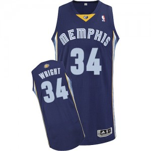 Maillot NBA Bleu marin Brandan Wright #34 Memphis Grizzlies Road Authentic Homme Adidas