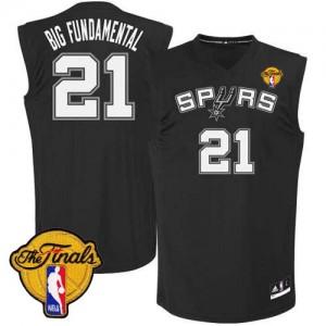 Maillot Authentic San Antonio Spurs NBA Big Fundamental Finals Patch Noir - #21 Tim Duncan - Homme