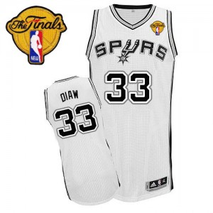 Maillot NBA Authentic Boris Diaw #33 San Antonio Spurs Home Finals Patch Blanc - Homme