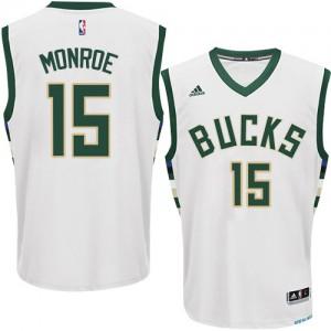 Maillot NBA Milwaukee Bucks #15 Greg Monroe Blanc Adidas Swingman Home - Homme