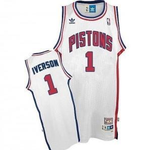 Detroit Pistons #1 Adidas Throwback Blanc Swingman Maillot d'équipe de NBA Le meilleur cadeau - Allen Iverson pour Homme