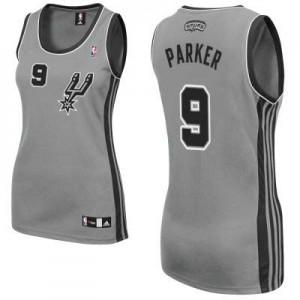 San Antonio Spurs #9 Adidas Alternate Gris argenté Authentic Maillot d'équipe de NBA pas cher en ligne - Tony Parker pour Femme
