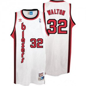 Maillot NBA Swingman Bill Walton #32 Portland Trail Blazers Throwback Blanc - Homme