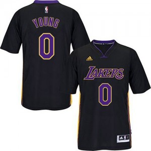 Maillot NBA Noir (Violet No.) Nick Young #0 Los Angeles Lakers Authentic Homme Adidas