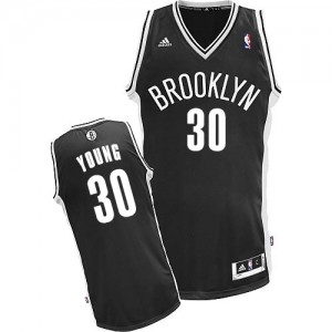 Maillot NBA Brooklyn Nets #30 Thaddeus Young Noir Adidas Swingman Road - Enfants