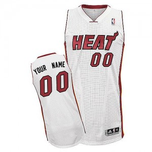 Maillot NBA Blanc Authentic Personnalisé Miami Heat Home Homme Adidas