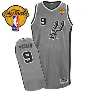Maillot NBA Authentic Tony Parker #9 San Antonio Spurs Alternate Finals Patch Gris argenté - Homme